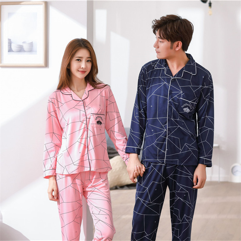Soft Knit Cotton Nightie Pajama Sets For Men And Women Autumn Long Sleeve Casual Winter Pyjamas M-3XL