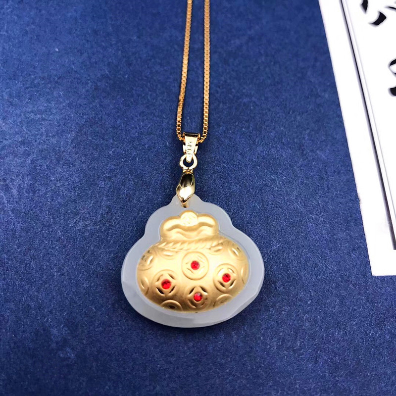 Beads Necklace Beautiful Natural Gold Obsidian Carved Money Bag Lucky Pendant