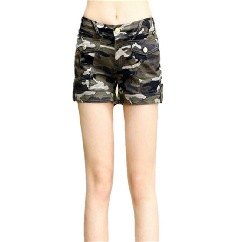 New Arrival Shorts Jeans Cotton Shorts Women 2017 Summer Fashion Army Camouflage Multi-pockets Cargo Trousers Short For Feminino
