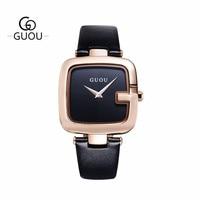 GUOU Simple Quartz Women Watch Square Dial Face G Shape Leather Strap Female Woman Clock Elegant Ladies Wristwatches Waterproof