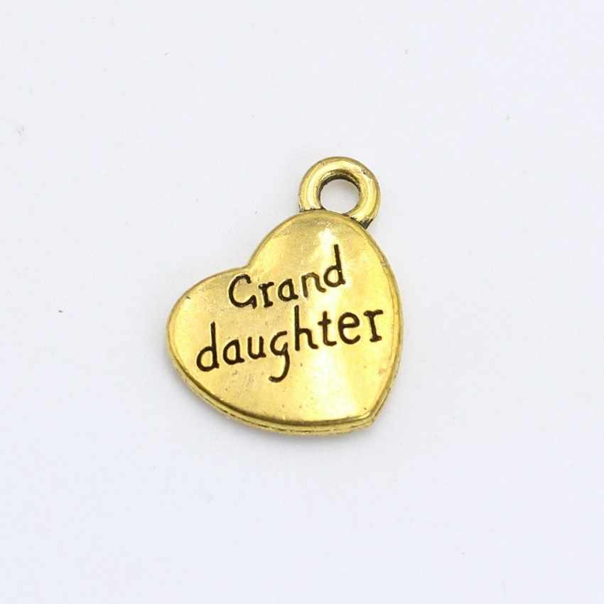 5 個アンティークシルバー黄金メッキ granddaughter ハートチャームペンダントブレスレットネックレスジュエリーメイキングアクセサリー diy