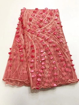 3d appliqued french lace fabric pink with sequins net swiss voile African net tulle lace fabric for wedding gown dress