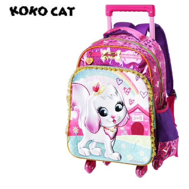 4e3f54cd072b Cartoon 3D Kids Children School Trolley Bag Cute Dog Bags Girls Bookbag  School Trolley Bag for Teens Girls Student Bag