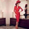 Элегантная Мода V-образным Вырезом Три Четверти Кружева Две Пьесы Оболочка Г-Жа Костюм Мать Невесты Платья 2016
