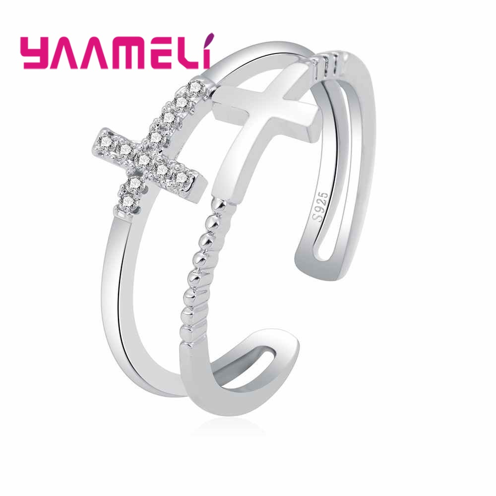 YAAMELI Hot Sale 925 Sterling Silver Elegant Crossed Design Adjustable Rings Accessories For Women Wedding Banquet Finger Ring
