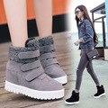 Gancho de Las Mujeres Botas de Nieve Del Tobillo Del Lazo de corea Del Otoño Invierno Cálido de Felpa Espesa Inferior Altura Aumento Zapatos de Mujer Gris Botas de Plataforma