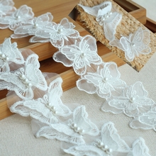 Ribbon Lace-Trim Butterfly Embroidered Handcraft Sewing 1yard/Lot DIY Buiter Double-Nail-Bead