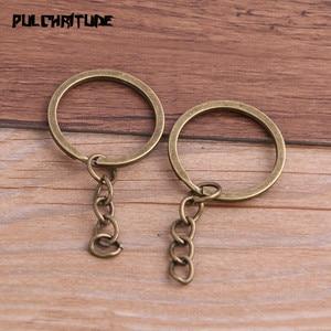 Image 4 - Porte clés, 10 pièces, 4 couleurs, plaqué, 25mm de Long, rond, fendu, vente en gros