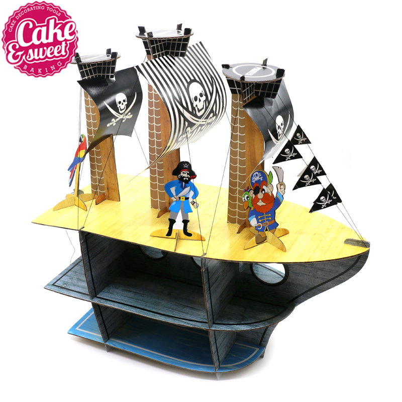 Delikate origjinale Pirate Ship Cartoon Cake Rack Cupcake Stand Fo Cake Party Ditëlindja Partia Cake Display Dekore Dhurata bukuroshe