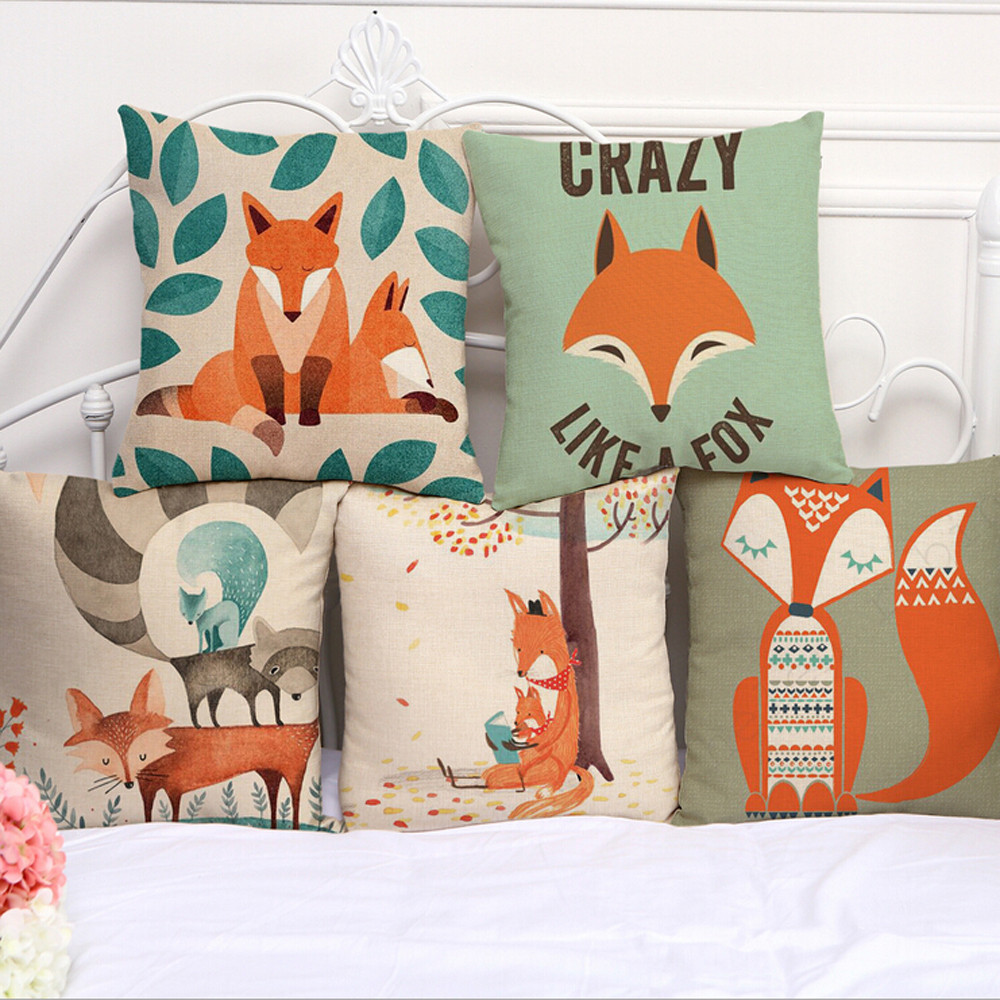 Lovely Cute Animals Fox Pattern Cushion Cover For Sofa Bed Home Decor 45X45cm Decorative Throw Pillows Cover Hot Sell IN STOCK