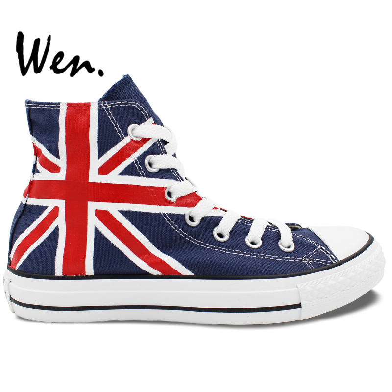 Wen Hand Painted Blue Shoes Custom Design UK Flag Union Jack Men Women's High Top Canvas Sneakers Casual Shoes for Gifts wen original hand painted canvas shoes space galaxy tardis doctor who man woman s high top canvas sneakers girls boys gifts