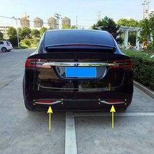 Exterior Rear Fog Light Lamp Stripe Decorative Trims 2 pieces /set ABS Chrome For Tesla Model X 2016 2017 2018 Car Accessories