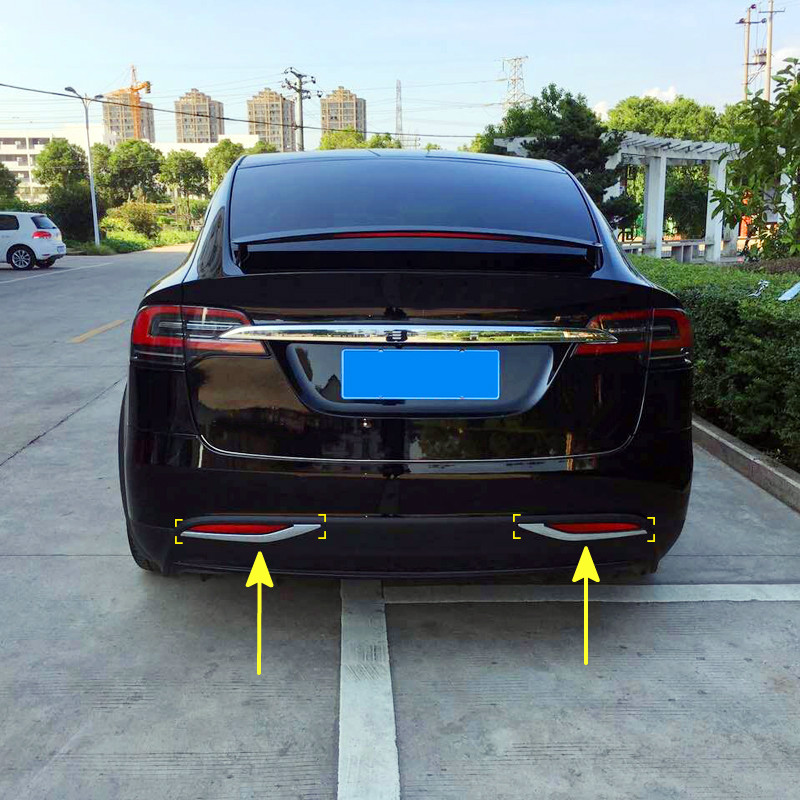 Garnitures décoratives de bande de lampe antibrouillard arrière extérieur 2 pièces/ensemble Chrome ABS pour Tesla modèle X 2016 2017 2018 accessoires de voiture