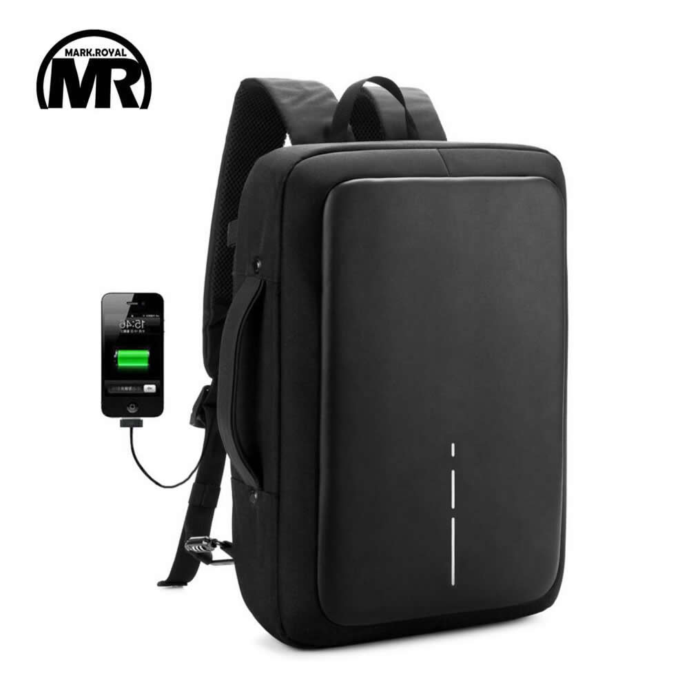 MARKROYAL Business Backpack Anti-theft Password Lock External USB Anti-Cut Waterproof Travel School Bag for 15.6 inch Laptop