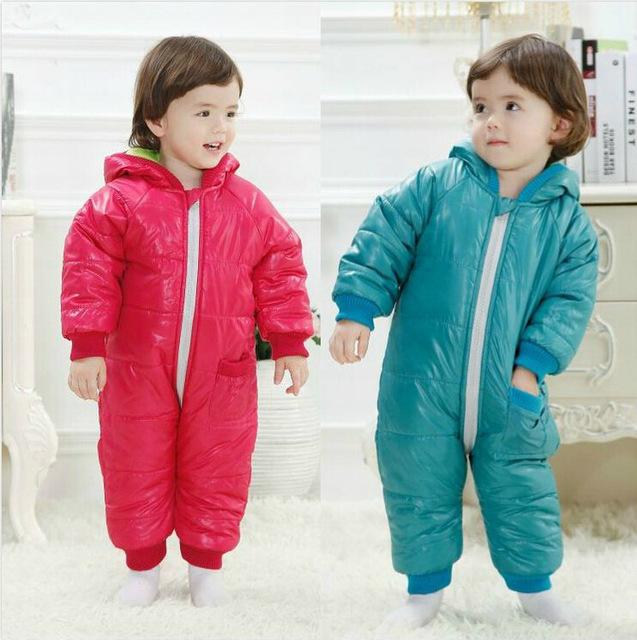 Moda de alta Qualidade Macacão de Bebê Inverno Algodão Grosso Meninos Traje Meninas Roupas Quentes Crianças Macacão Desgaste Do Bebê Exteriores Crianças