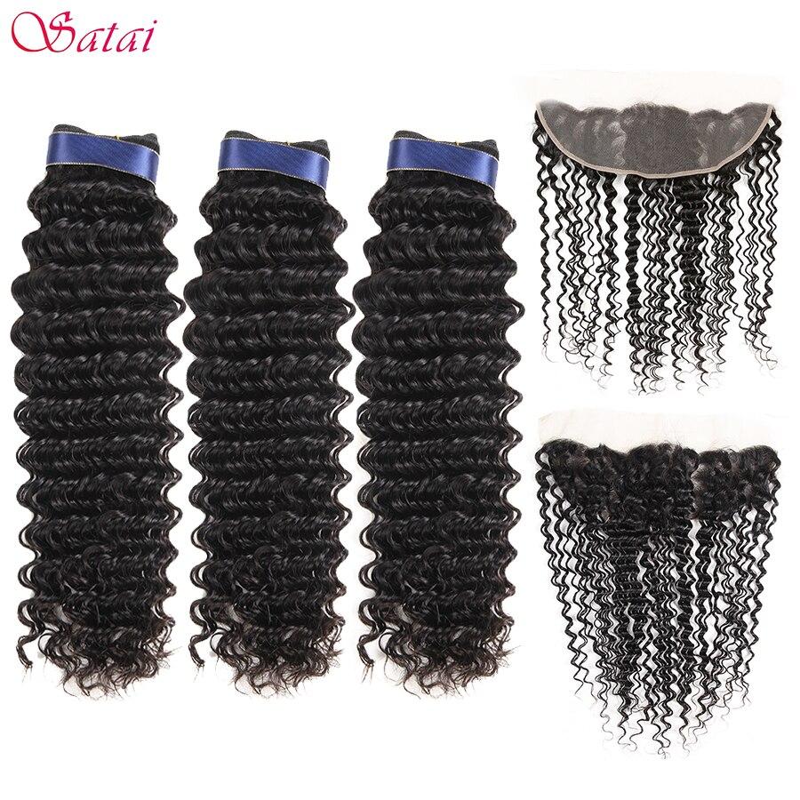Satai Hair Extension Deep Wave Human Hair 3 Bundles With Frontal 100 Malaysian Hair Bundles Frontal