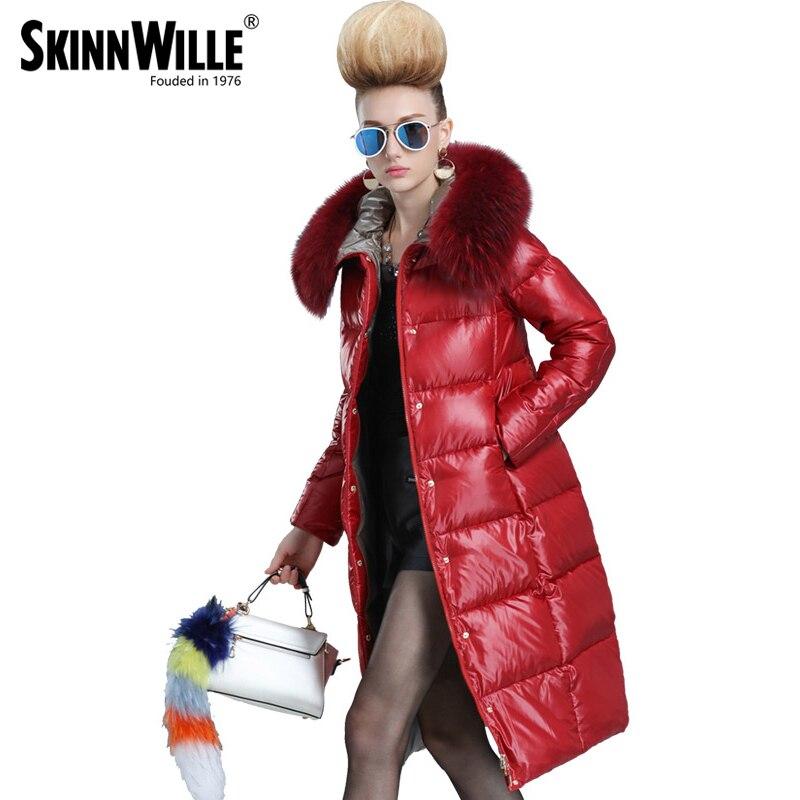 Skinnwille 2017 nouveaux produits doudoune en hiver Plus femme en longue Blanc duvet de canard même la jugulaire colliers