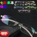 I-brillante promoción color de la jalea hombres / mujeres moda memoria marco ultraligero gafas sin montura tr90 flexible miopía del marco óptico