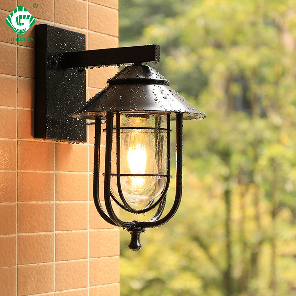 Vintage Outdoor Wall Light LED Waterproof Industrial Decor Outside Lamp Black Sconce Lighting Fixtures Patio Courtyard