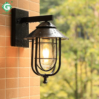 Vintage Outdoor Wall Light LED Waterproof Industrial Decor Outside Lamp Black Sconce Lighting Fixtures Patio Countyard Lights