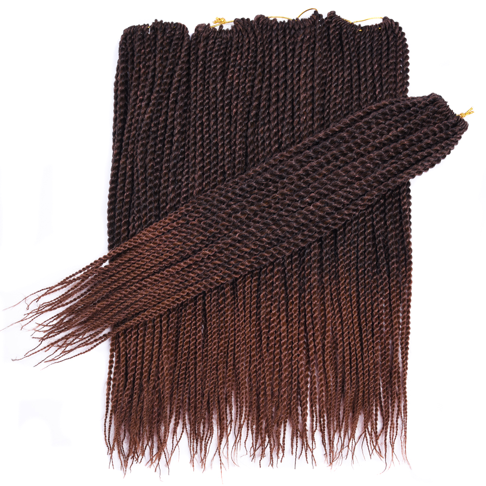 30Roots/Pack Sallyhair Senegalese Crochet Twist Braids Hair 18inch Brown Color Braid Hair Ombre Synthetic Senegal Braiding Hair