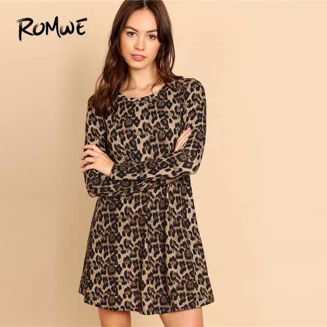 ROMWE Leopard Print Dress 2019 Fashion A-Line Long Sleeve Round Neck Above  Knee Sexy Spring Autumn Casual Cool Women Dress 91079effc1