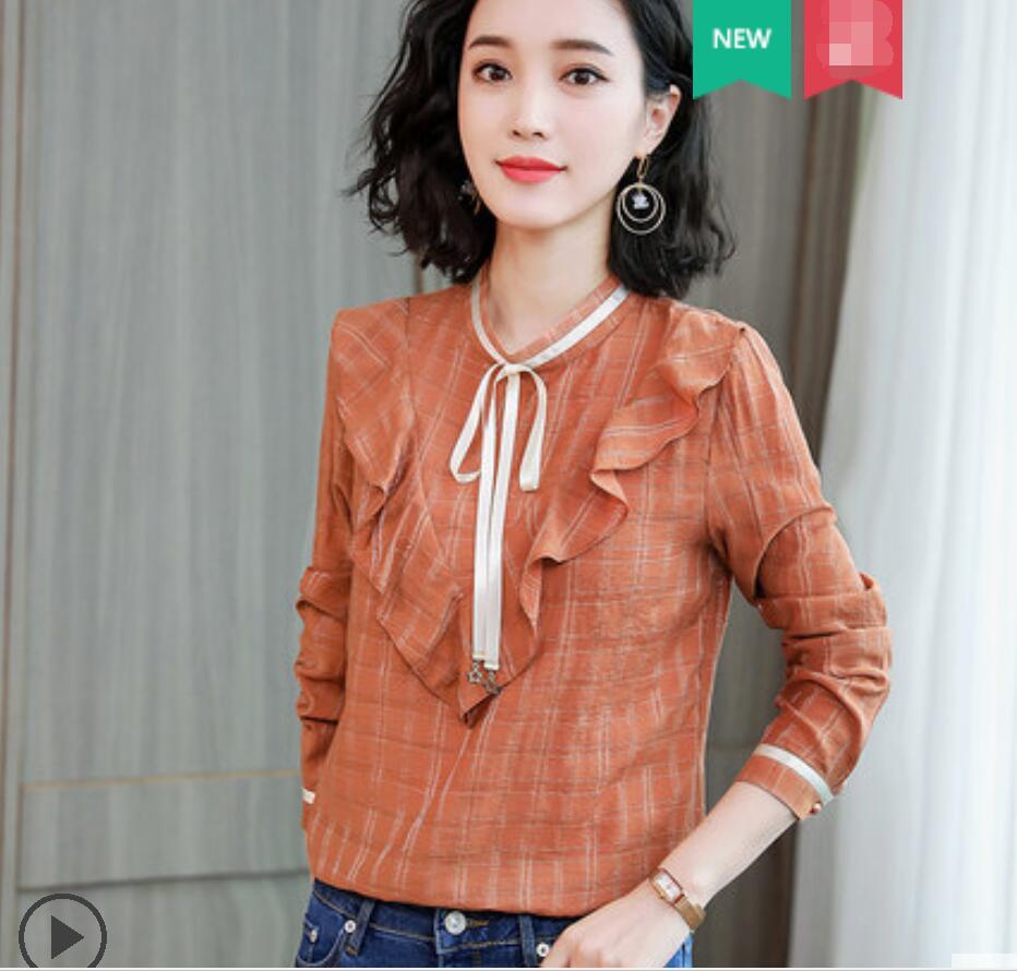 Mousseline de soie 2019 nouveaux volants mode coréenne vêtements Chemise Femme Plaid bureau dame Chemise lâche printemps automne Femme Blouse Top