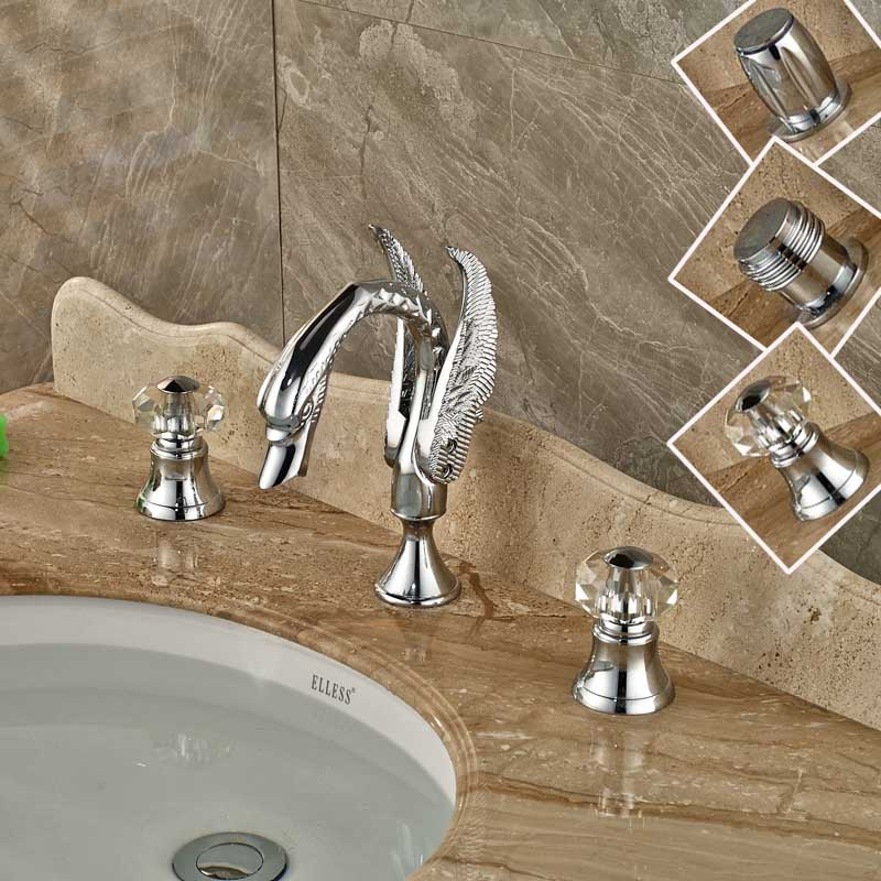 Chrome Polished Bathroom Basin Sink Water Taps with Dual Handles Three Holes Faucet chrome polished bathroom sink faucet 3pcs double handles three holes basin faucet deck mounted