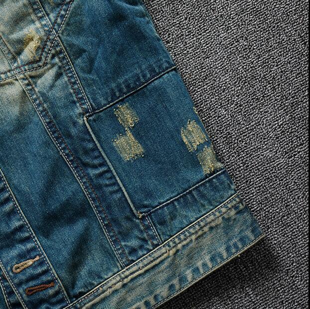 2016 new hot spring autumn Men Jeans Jacket Overcoat Parkas coat Motorcycle Retro short plus size 4XXXXL cotton Holes fashion