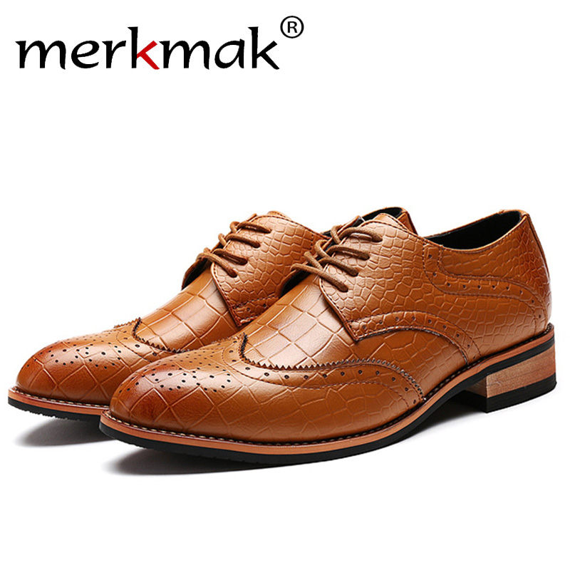 Merkmak Fashion Men Casual Brogue Shoes Brand Ankle Comfortable Breathable Spring Autumn Business Man Flats Footwear Drop Ship
