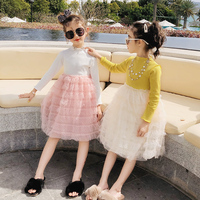 Toddler princess girl dress boutique elegant vintage lace patchwork mesh princess girl tulle cake dress party gown yellow white