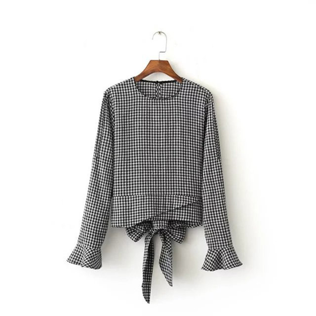 New Europe Strapless Plaid Shirt Fashion Bow Lace Women Sexy Shirts Shoulder Hollow Out  Ladies Tops Long Sleeve Cdc8181
