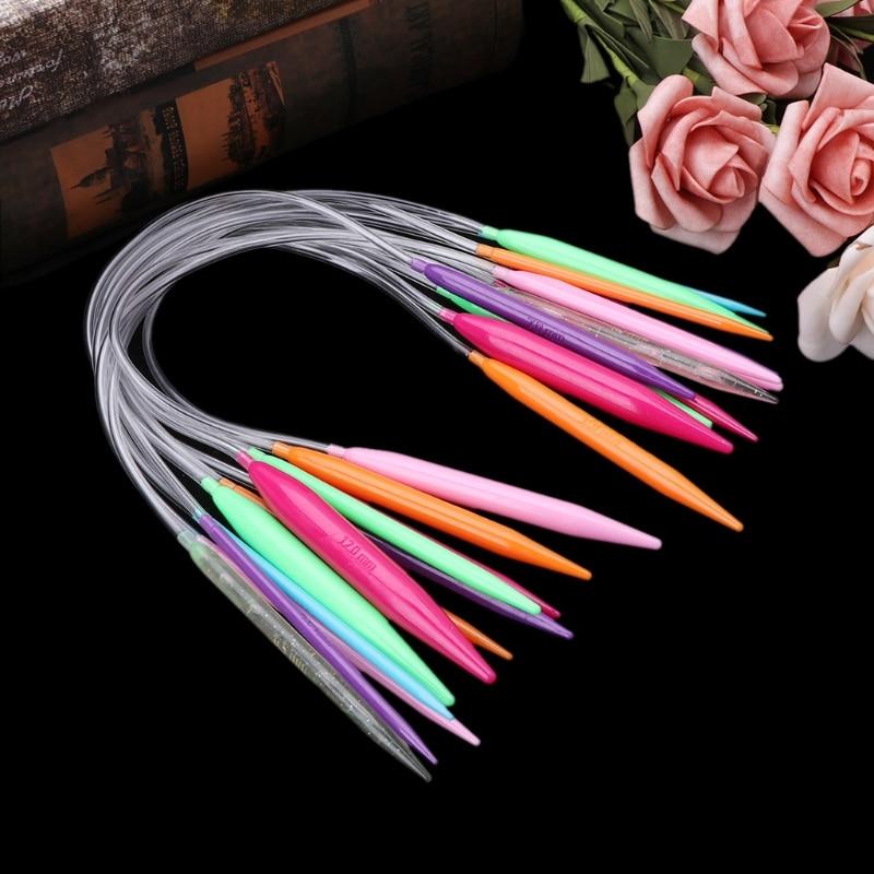 12x Plastic Circular Knitting Needle Crochet Set Craft Multicolor Tube 40cm 80cm W229