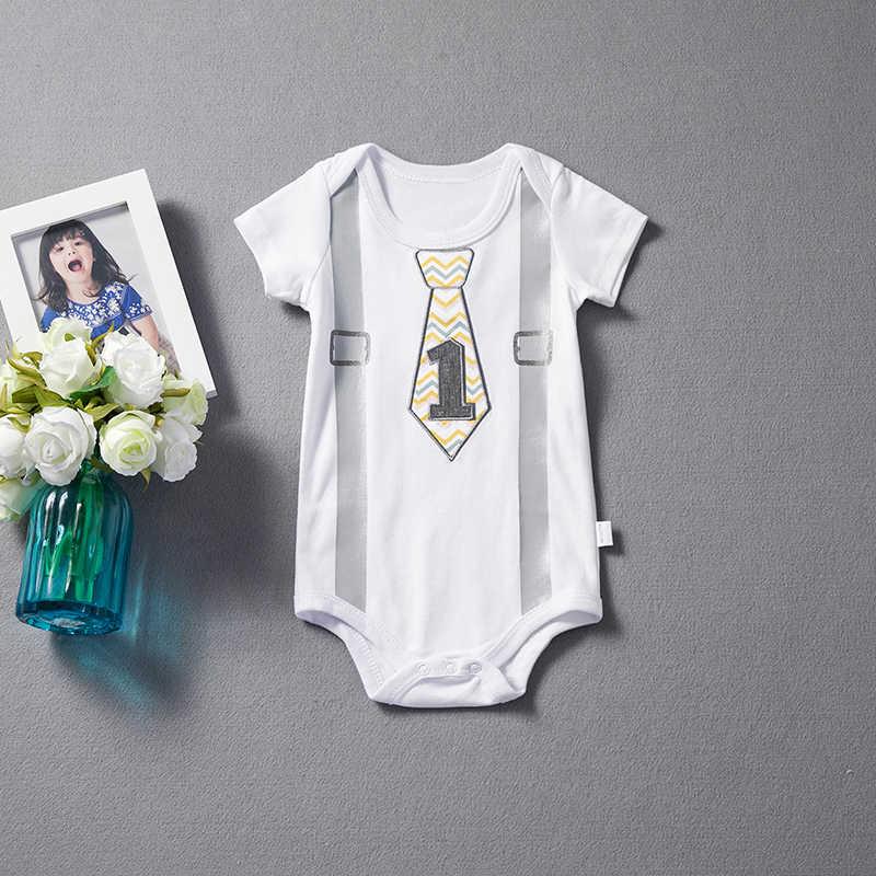 b23878761 ... Baby Boys Rompers Little Boy Gentleman Suspenders Tie Bow 2018 Summer  Clothes First 1st Birthday White ...