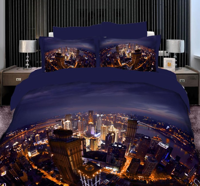 3d city scene bedding sets duvet cover super king size queen full double cotton fitted sheet bed in a bag bedspreads quilt 7pcs