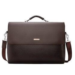 Berühmte Marke Business Männer Aktentasche Leder Laptop Handtasche Casual Mann Tasche Für Anwalt Schulter Tasche Männlichen Büro Tote Umhängetasche