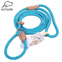 [GIIWIN]High quality one piece dog collar and leash colorful brand new reflective silk durable adjustable pet py0237