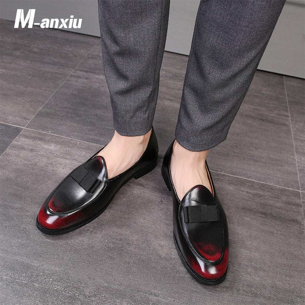 M-anxiu 2018 New Design Gradine Color Wingtip Formal Shoes Men Pointed Toe Casual Wedding Party Liesure Dress Shoes simple men s casual shoes with criss cross and color block design