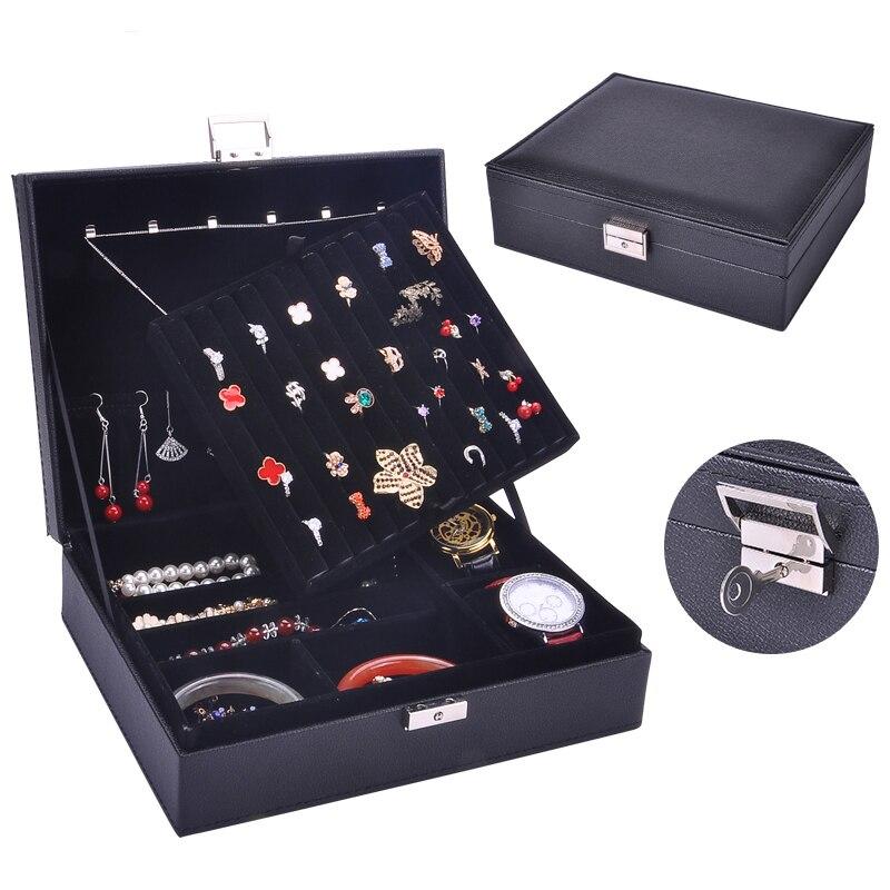 Guanya mujeres de cuero rectangular anillos de embalaje pendientes organizador de almacenamiento caja de exhibición exquisita caja de joyería de viaje regalo - 2