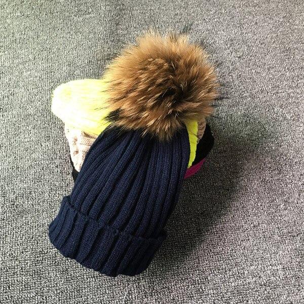 Winter Brand Female Fur Pom Poms hat Winter Hat For Women Girl 's Hat Knitted Beanies Cap Hat Thick Women Skullies Beanies