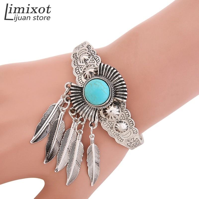 Women Girl Retro Jewelry Blue Stone Leaf Open Cuff Bangle Charm Bracelet Indian Native American Jewelry Retro Statement Bracelet