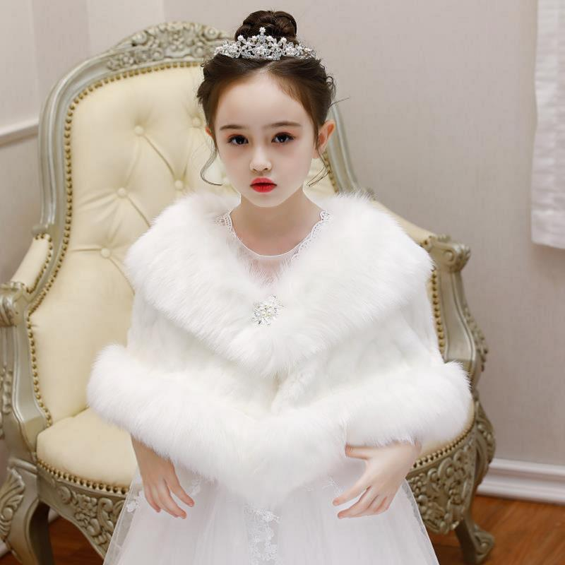 New 2019 Baby Girls Winter Thick Fashion Faux Fur Brand Fur Coat For Girls Formal Soft Party Coat Kids Wedding Outwear