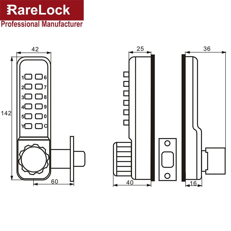 Theftproof cipher lock Zinc alloy code push button mechanical combination door lock - 2