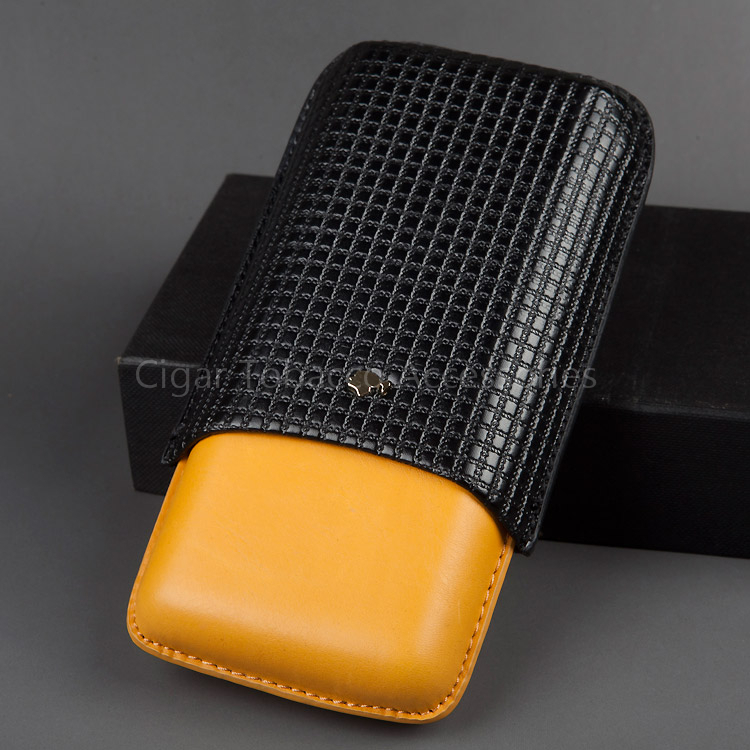 COHIBA Gadgets Adjustable Portable Black&Yellow Embossed Leather Cedar Wood Tube Cigar Case Travel Humidor Holder 3 Finger
