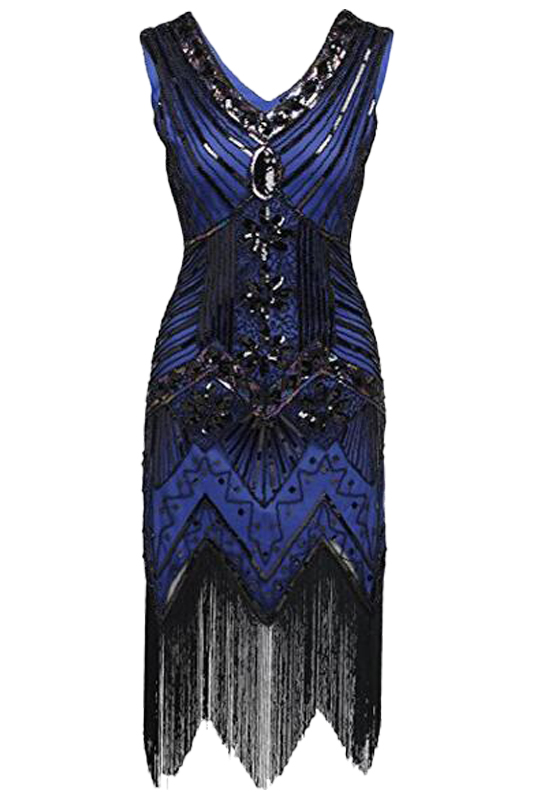 European 1920s Vintage Beaded Sequin Tassel Dress Elegant Women V-neck Flapper Dress For Party Dresses Sexy Club