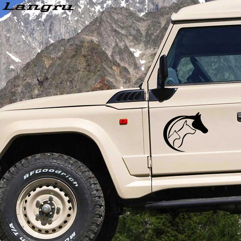 Langru سيارة stying الحيوان عاشق الحب القلب ملصقات jdm الفينيل ملصق مائي الحصان القط الكلب سيارة الإبداعي