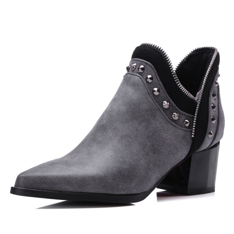 Chelsea boots Europe rivets big yards pointed bare metal zipper boots large size shoes 40-48 yards Women Boots botas mujer z199