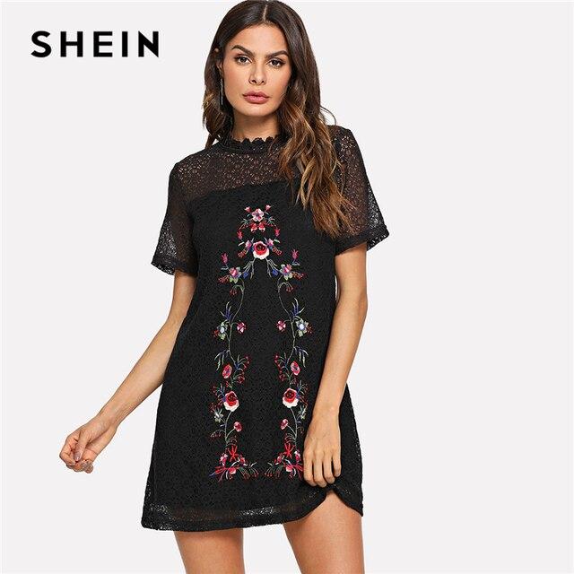 a75c260603 SHEIN Black Elegant Highstreet Flower Embroidery Circle Pattern O-Neck High  Waist Dress 2018 Summer Women Casual Dresses