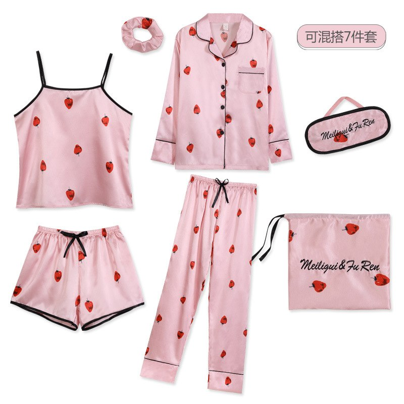 Strawberry Print 7pcs Pajamas Sets Women Sleepwear Silk Satin Pajamas Pyjamas Set Long Sleeve Winter and Summer Full Pajamas Set