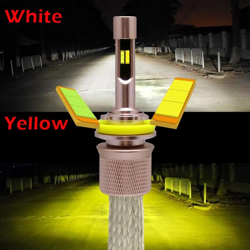 Цвет: желтый, белый 3000 К 6000 К 9600 люмен 4800Lm * 2 Lumi светодиодный чипов автомобилей Светодиодный фар комплект H1 H3 H4 h7 H9 H11 9004 HB1 9005 HB3 9006 HB4